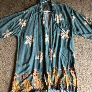 Other - Blue Hawaiian shirt with flowers and dancers